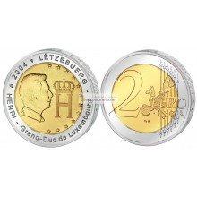 Люксембург 2 евро 2004 год Монограмма Великого Герцога Люксембурга Анри, биметалл АЦ из ролла