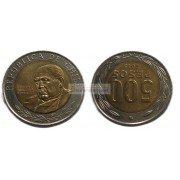 Чили 500 песо 2015 год. биметалл.