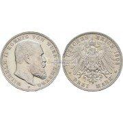 """Германская империя Вюртемберг 3 марки 1908 год """"F"""" Вильгельм II. Серебро"""