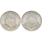 """Германская империя Бавария 3 марки 1911 год """"D"""" 90 лет со дня рождения Луитпольда Баварского. Серебро"""
