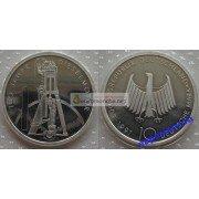 ФРГ 10 марок 1997 год 100-ая годовщина создания первого дизельного двигателя серебро запайка пруф