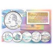 США набор квотеров 2005 голограмма 25 центов полный набор из 5 монет
