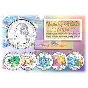 США набор квотеров 2002 голограмма 25 центов полный набор из 5 монет