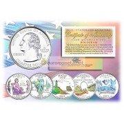 США набор квотеров 2003 голограмма 25 центов полный набор из 5 монет