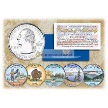 США 2005 квотер 25 центов цветные территории штаты набор из 5 монет