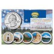 США 2010 квотер 25 центов цветные национальные парки Америки набор из 5 монет