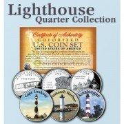 США квотер 25 центов цветные история Америки Маяки №3 набор из 3 монет