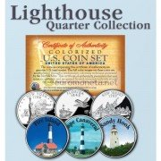 США квотер 25 центов цветные история Америки Маяки №5 набор из 3 монет