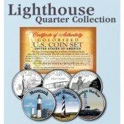 США квотер 25 центов цветные история Америки Маяки №1 набор из 3 монет