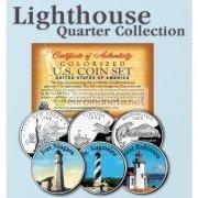 США квотер 25 центов цветные история Америки Маяки №8 набор из 3 монет