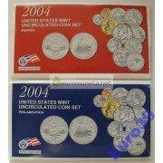 США полный набор монет 2004 год 22 монеты Денвер (D), Филадельфия (P) АЦ