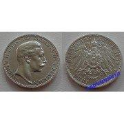 Германия Пруссия 3 марки 1909 год A монета на фотографии серебро