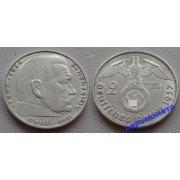 Германия 3 рейх 2 марки 1937 A свастика серебро Гинденбург состояние