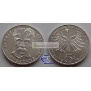 ФРГ 5 марок 1975 год G серебро 100 лет со дня рождения Альберта Швейцера