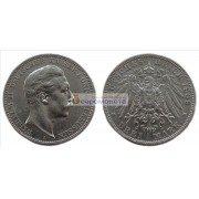 """Германская империя Пруссия 3 марки 1909 год """"A"""" Вильгельм II. Серебро"""
