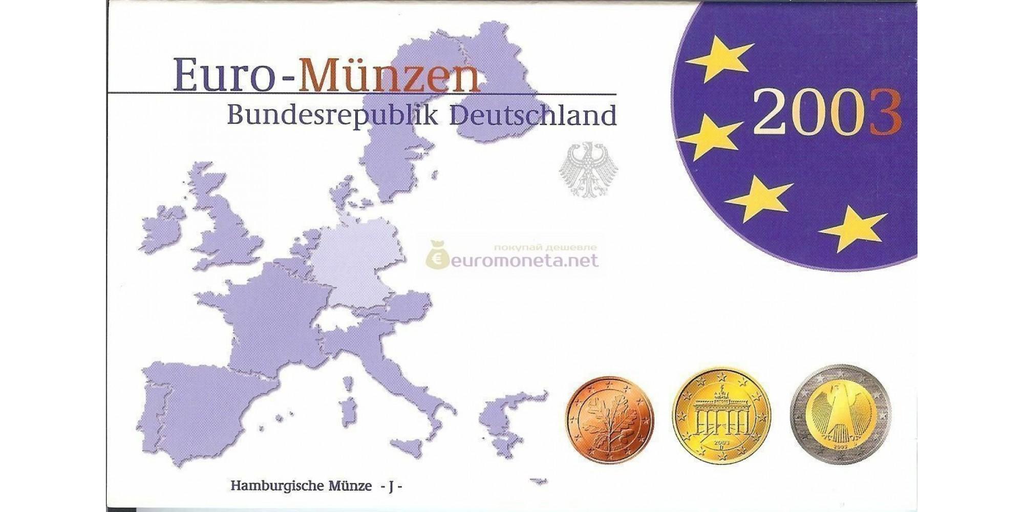 Германия годовой набор евро 2003 год J пластиковый бокс proof