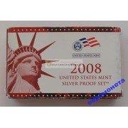 США полный годовой набор монет 2008 год S Сан-Франциско 14 монет пруф серебро
