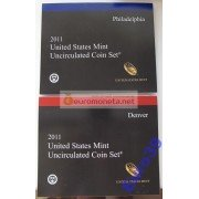 США полный годовой набор монет 2011 год P Филадельфия D Денвер 28 монет АЦ