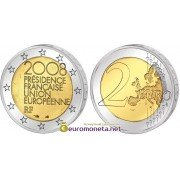 Франция 2 евро 2008 год Председательство Франции в ЕС, биметалл АЦ из банковского ролла