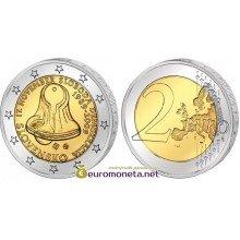 Словакия 2 евро 2009 год UNC 20 лет с начала Бархатной Революции, биметалл АЦ из банковского ролла