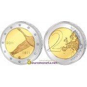 Финляндия 2 евро 2011 год 200 лет Банку Финляндии, биметалл АЦ из ролла