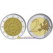 Италия 2 евро 2012 год UNC серия 10 лет наличному обращению евро, биметалл