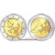 Монако 2 евро 2013 20 лет со дня вступления Монако в ООН, биметалл АЦ из банковского ролла