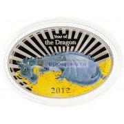 Ниуэ 2 доллара 2012 год. Королева Елизавета II. Китайский гороскоп - год дракона. Серебро.