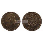 """Германская империя Бавария 10 марок 1877 год """"D"""" Людвиг II. Золото"""