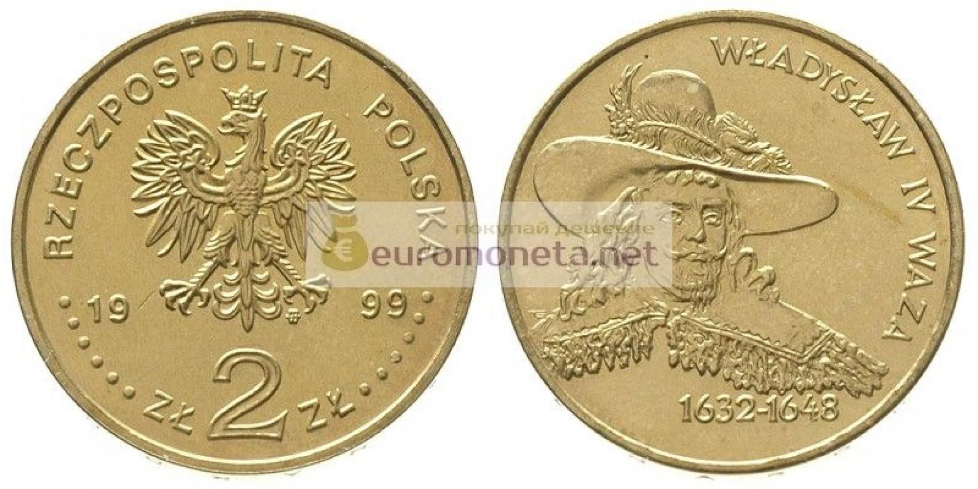 Польша 2 злотых 1999 год Короли и князья польские: Владислав IV Ваза (1632 - 1648)