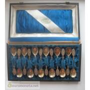 Германия набор ложечка чайная серебро 800 позолота 12 штук Carl Steyl Königsberg