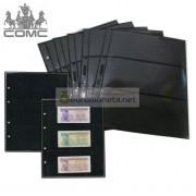 Лист для банкнот Optima, 3 ячейки на чёрной основе, пр-во СОМС, Россия