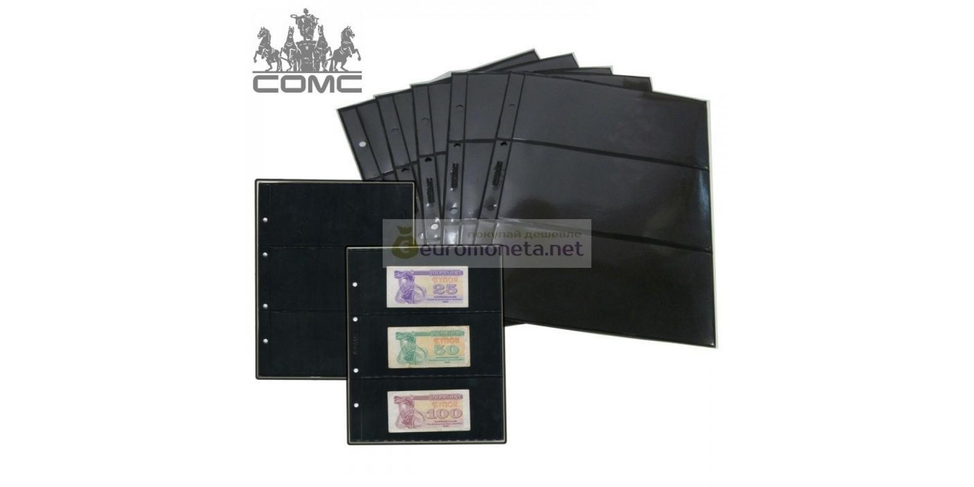 Лист для банкнот Optima, 3 ячейки на чёрной основе (6 ячеек, по 3 с каждой стороны), пр-во СОМС, Россия