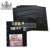 Лист для банкнот, марок и прочего Optima, 5 ячеек на чёрной основе, пр-во СОМС, Россия