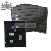 Лист для марок и прочего Optima, 7 ячеек на чёрной основе, пр-во СОМС, Россия